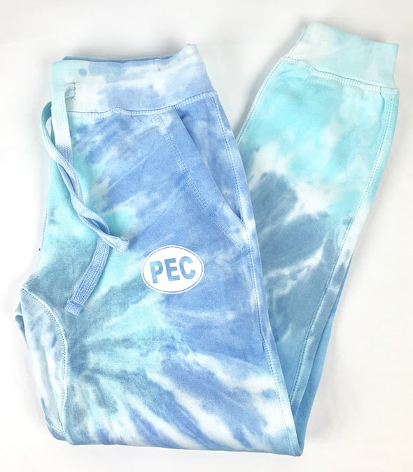 PEC Oval LAGOON BLUE TIE DYE Women's Slim Fit Jogger Pants Sweatpants Jogging Sweat Pants • Prince Edward County • ETERNITY