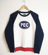 Tri-Colour Crew Sweatshirt PEC Euro Car Oval • White Navy Blue Red • Fleece Sweater Prince Edward County
