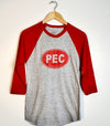 PEC OVAL • Prince Edward County • Unisex Modern Grey & Red Heather Baseball T-Shirt