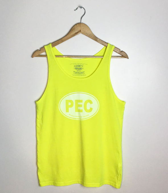 PEC Oval • Modern Unisex TANK Top Neon Yellow • Prince Edward County