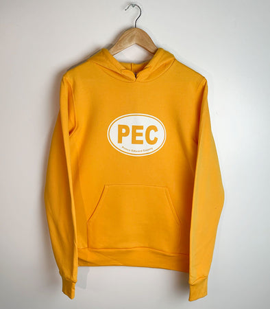 PEC Oval Hoodie on YELLOW GOLD  Unisex Prince Edward County Euro Car