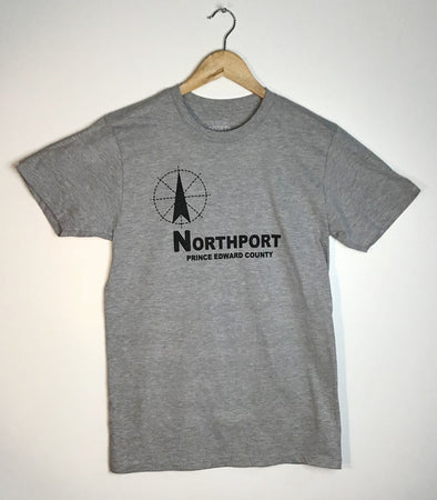 NORTHPORT PEC Compass Crew T-Shirt • Men's Unisex Athletic Heather Grey Modern Style • Sophiasburgh Prince Edward County