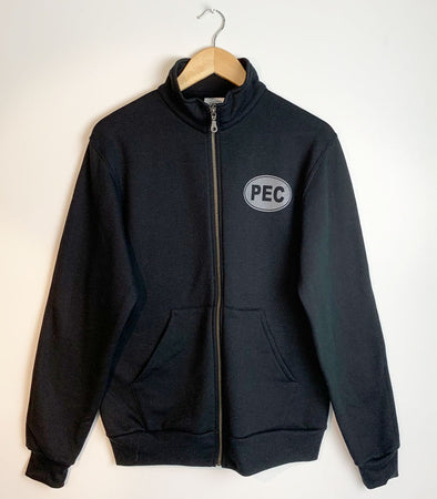 Full-Zip Track Jacket • Prince Edward County • Unisex PEC Oval on Black