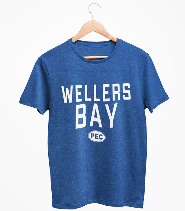 WELLERS BAY PEC Oval Men's Unisex NAVY Heather Modern Crew T-Shirt • Prince Edward County