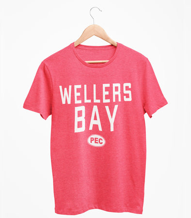 WELLERS BAY PEC Oval Men's Unisex RED Heather Modern Crew T-Shirt • Prince Edward County