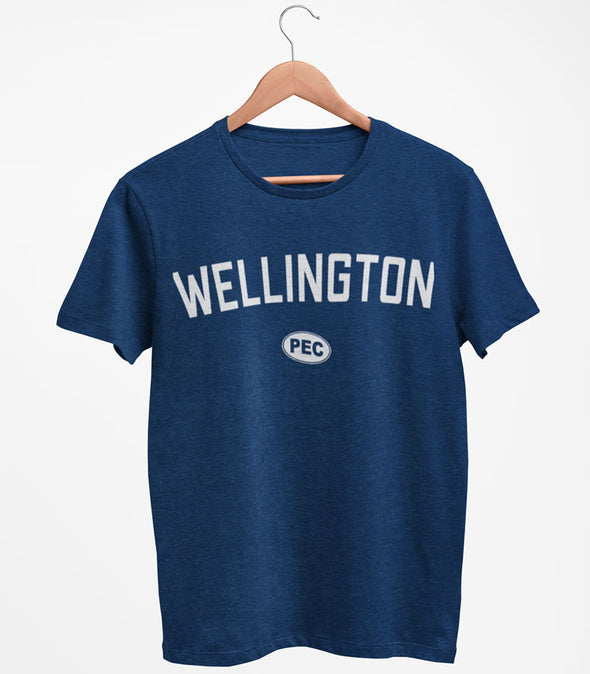 WELLINGTON PEC Oval Men's Unisex NAVY BLUE Modern Crew T-Shirt • Prince Edward County