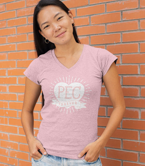 PEC Forever HEART Women's LIGHT PINK Modern V-NECK T-Shirt • Prince Edward County
