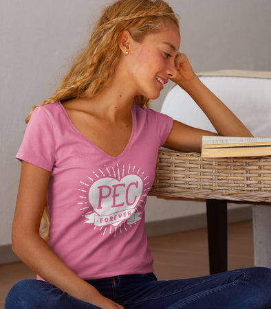 PEC FOREVER TATTOO DESIGN ON RASPBERRY PINK WOMEN'S V-NECK T-SHIRT PRINCE EDWARD COUNTY