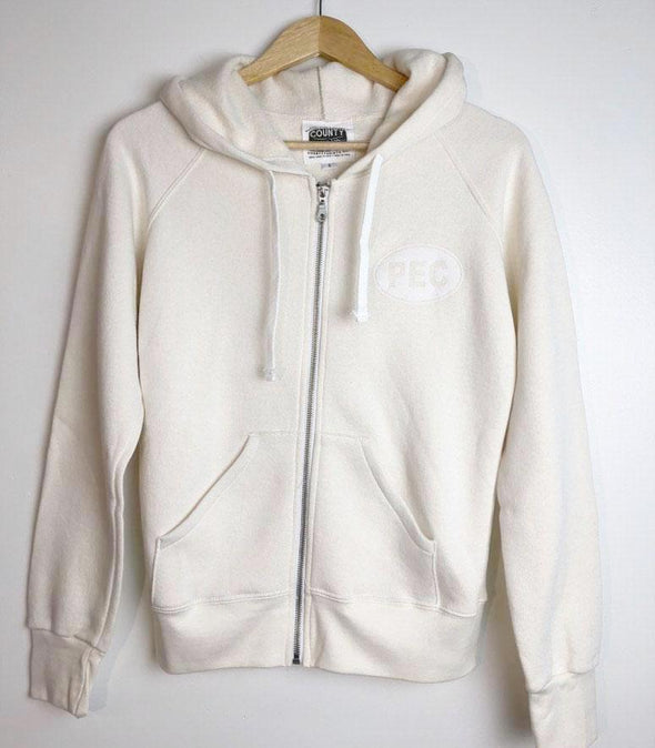 Women's • Bamboo Natural White Full Zip Hoodie PEC Sweatshirt • Prince Edward County