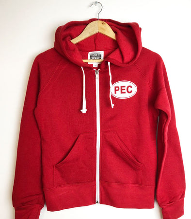 Women's • Retro Red Full Zip Hoodie PEC Sweatshirt • Prince Edward County • Bamboo Organic Cotton