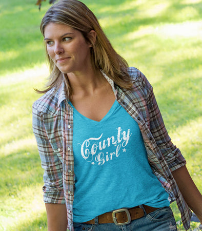 women's county girl text v-neck t-shirt in turquoise blue prince edward county