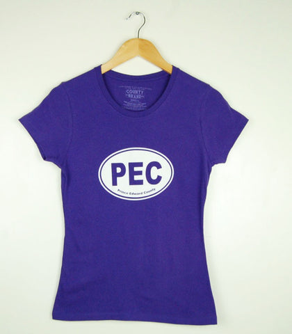 Women's Modern Crew T-Shirt • PEC Prince Edward County Euro Car Oval • on Purple