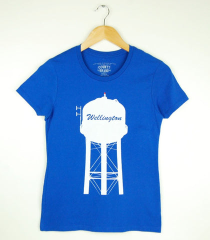Women's Modern Crew T-Shirt • Wellington PEC Water Tower • White Ink on Royal Blue