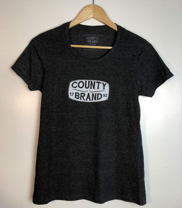 COUNTY BRAND • Prince Edward County PEC • Women's Charcoal Modern Crew T-Shirt