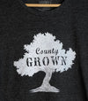 COUNTY GROWN • Prince Edward County PEC • Women's Charcoal Heather Modern Crew T-Shirt