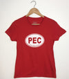 PEC OVAL • Prince Edward County • Women's Red Modern Crew T-Shirt