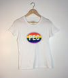 PEC OVAL PRIDE RAINBOW • Prince Edward County • Women's White Modern Crew T-Shirt