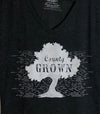 COUNTY GROWN • Prince Edward County PEC • Women's Charcoal Tri-Blend V-Neck T-Shirt