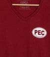 PEC Side OVAL • Prince Edward County • Women's Red Modern V-Neck T-Shirt