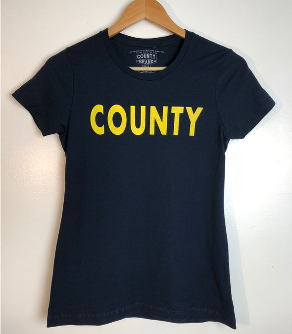 COUNTY PT Physical Training • Prince Edward County PEC • Women's Navy Blue Modern Crew T-Shirt