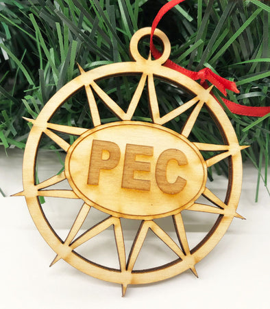 wood STAR christmas ornament with PEC oval prince edward county