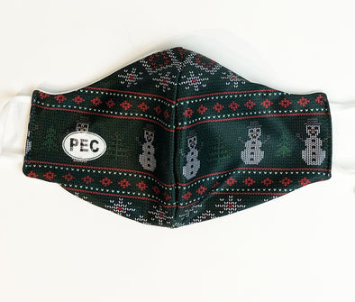 MASKS • SNOWMAN UGLY SWEATER WINTER HOLIDAY GREEN DESIGN w/ PEC Oval MADE IN CANADA • PRINCE EDWARD CANADA