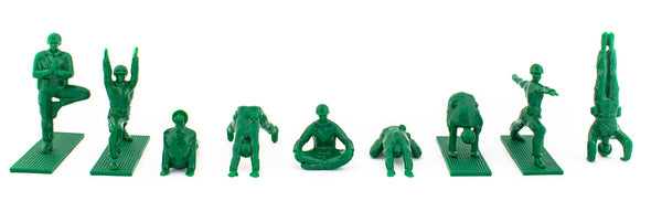 Series 1 ORIGINAL Yoga Joes GREEN Army Men Plastic Figurine Set • Keep the Inner Peace