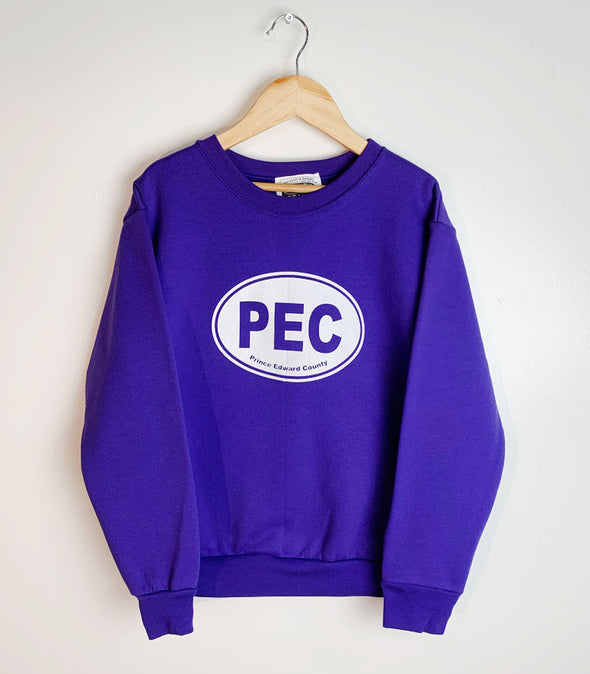 PEC OVAL • YOUTH PURPLE Fleece CREW Sweatshirt Sweater • Prince Edward County