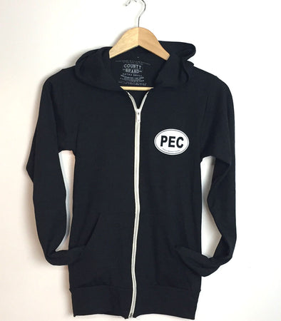 PEC FULL ZIP LIGHTWEIGHT HOODIE • Charcoal BLACK Unisex Premium Tri-blend • Prince Edward County