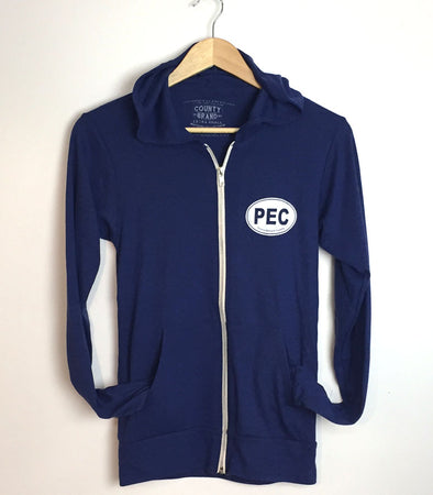 PEC FULL ZIP LIGHTWEIGHT HOODIE • NAVY Unisex Premium Tri-blend • Prince Edward County