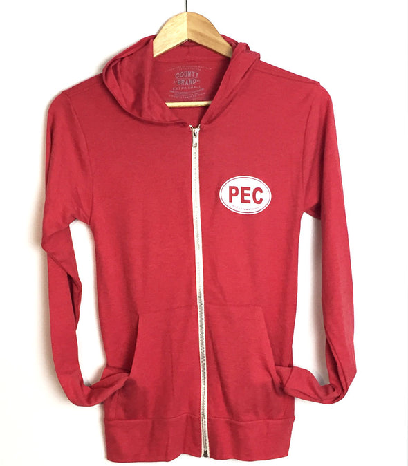 PEC FULL ZIP LIGHTWEIGHT HOODIE • RED Unisex Premium Tri-blend • Prince Edward County