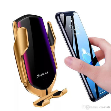 Suport auto cu incarcator wireless si senzor inteligent, USB, functie Fast Charge