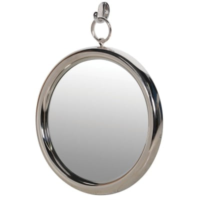 silver round mirror on hook