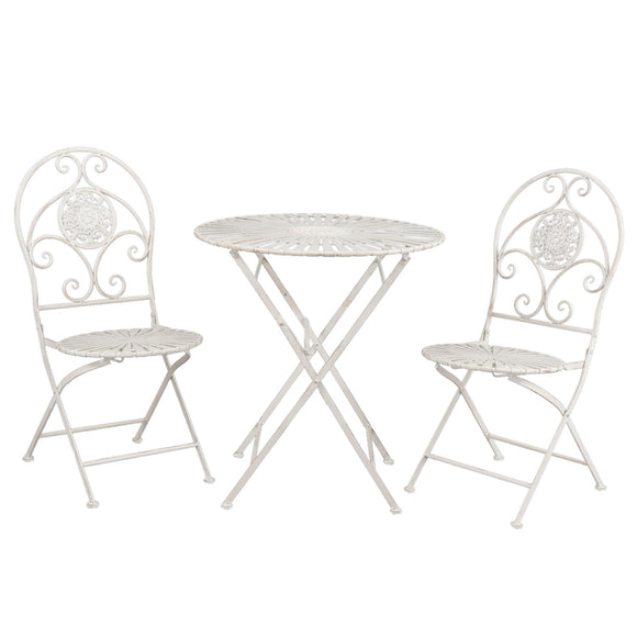 Classic Vintage White Garden Bistro Set (3 pieces)