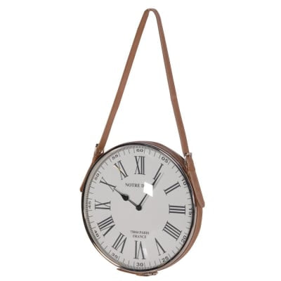 Vintage Clock with Faux Leather Strap