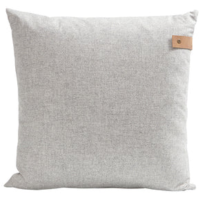 cushion with leather tag , cushion grey leather tag