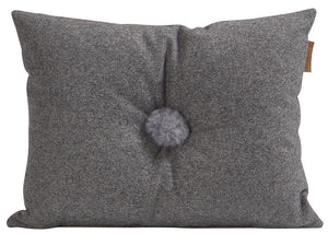 Grey Button  Wool Cushion