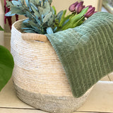 Large White & Grey Round Basket