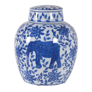 Floral Elephant Ceramic Jar