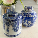 Blue & White Ceramic Lidded Jar