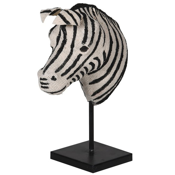 Cotton Zebra Head On Stand