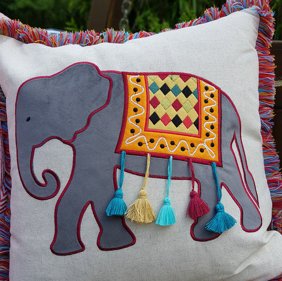 Multi Colour Embellished Cushion