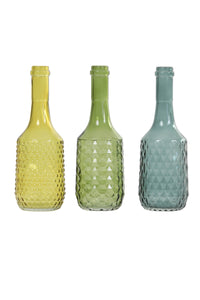 French Glass Bottle Shape Vases (Set of 3)