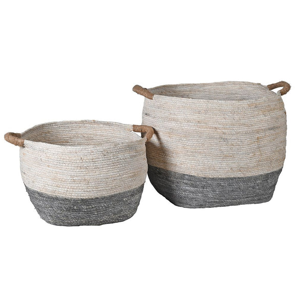 White & Grey Round Baskets