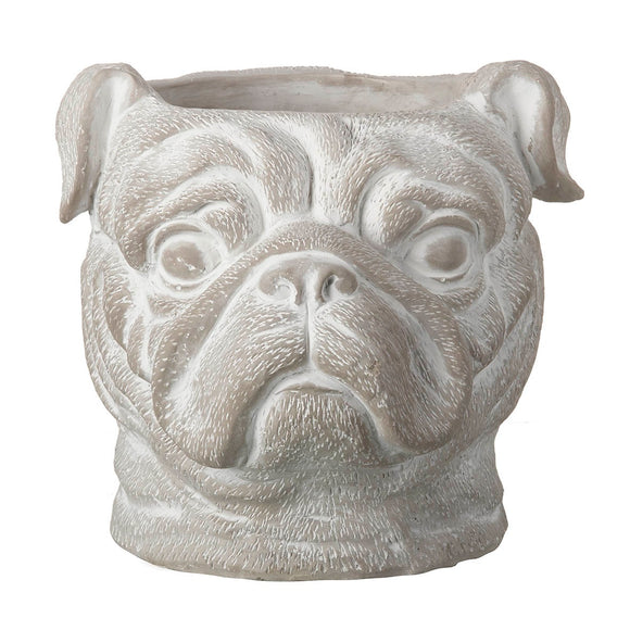 Pug Head Dog Planter