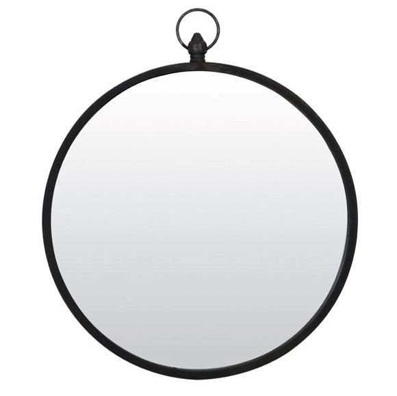 Round Matt Black Wall Mirror with Hook (Large)