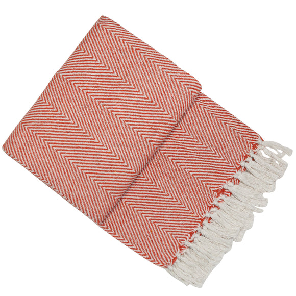 Orange Chevron Design Throw