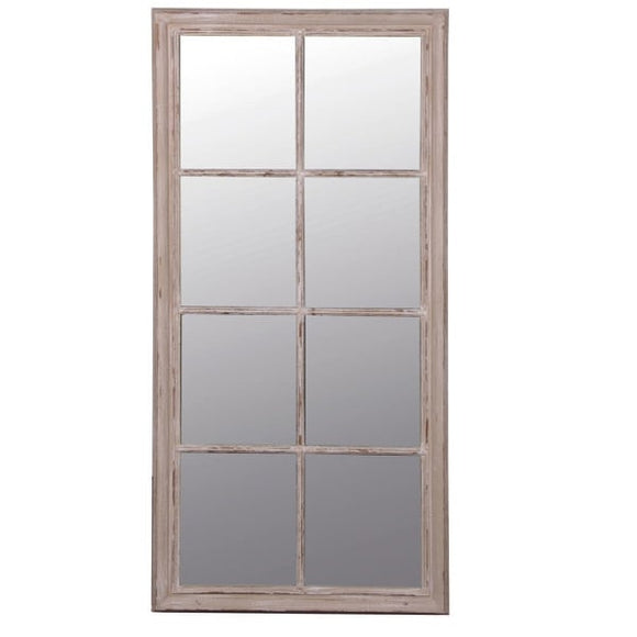 Taupe windowpane mirror