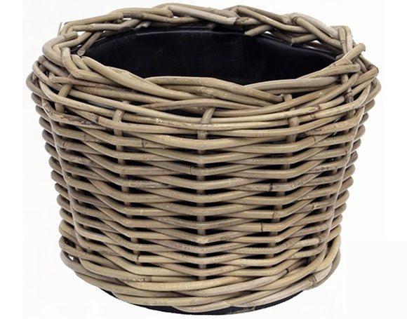Rattan Wicker Round Basket Planter (Small)