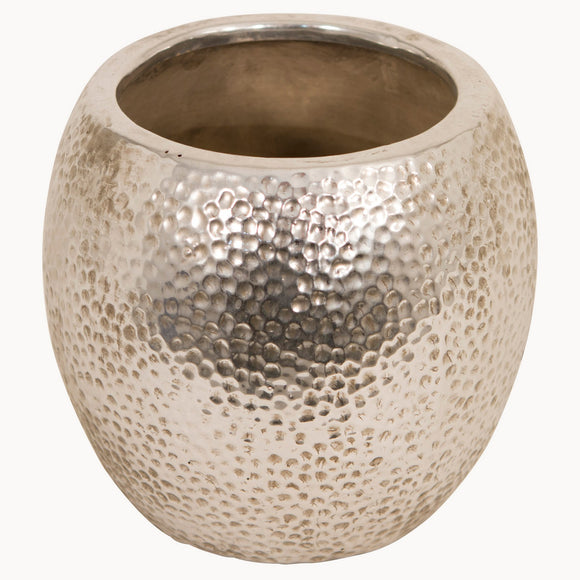 Silver Finish Birkdale Hammered Planter